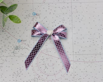 Navy and White Striped Ribbon with Pink or White Double Bow Seashell Hair Bow