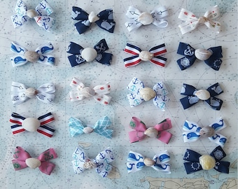"""Wholesale Lot of 7/8"""" Ribbon Bows with Real Seashell Center"""