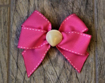 Bright Pink with White Trim Seashell Hair Bow