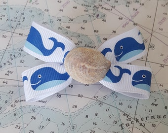 Whale Ribbon Hairbow with Real Seashell Center