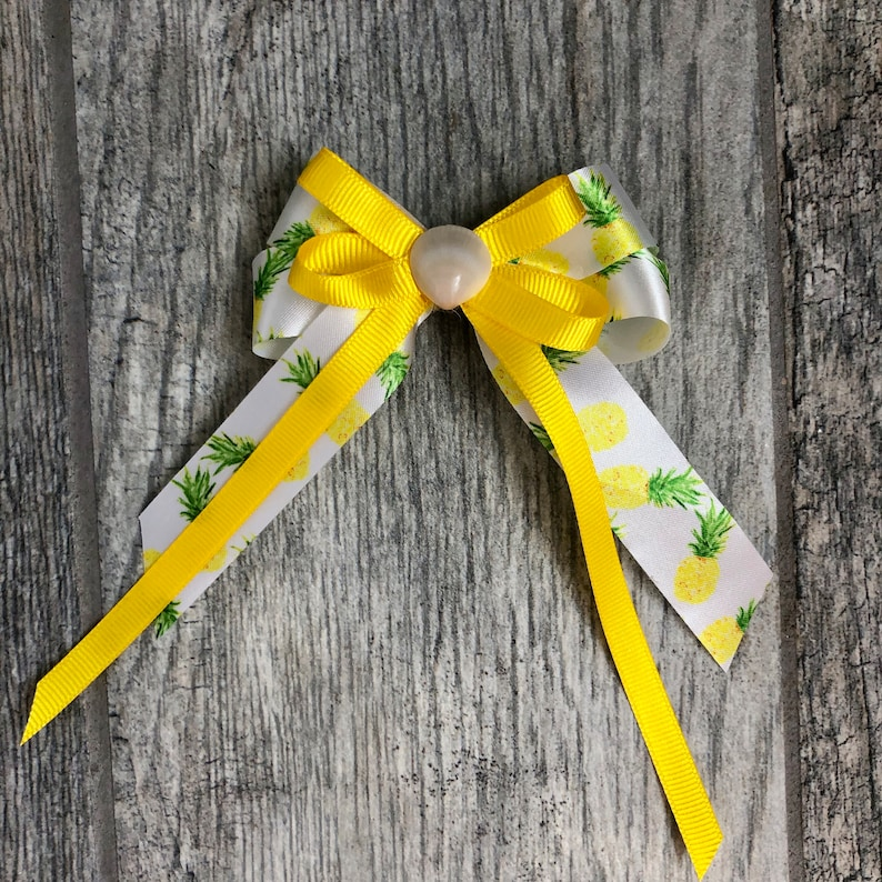 Pineapple Seashell Hair Bow with Yellow Accent Ribbon image 0