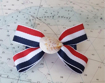 Red White and Blue Nautical Hairbow with Real Seashell Center