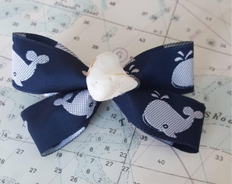 Navy Whale Hairbow with Real Seashell Center