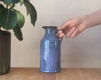 Pottery vase, blue jug, handmade flower vase