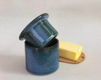 French butter dish, handmade pottery butter crock, blue butter keeper, ceramic butter dish