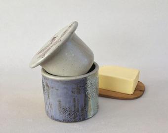 French butter dish, handmade pottery butter crock, butter keeper, ceramic butter holder