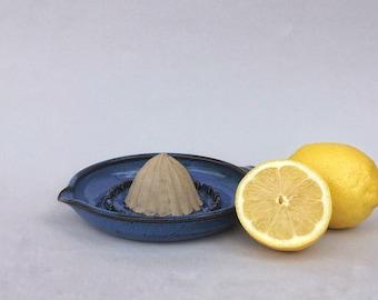 Lemon juicer, citrus squeezer, ceramic citrus press, handmade, blue