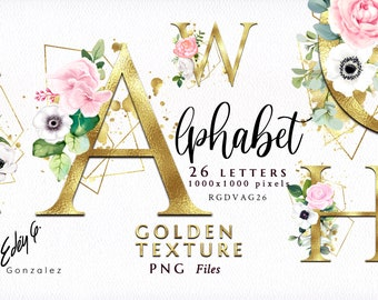 Alphabet/Letters/PNG/Golden/Floral/Clipart/Pink/Rose Gold/Arrangements/Flowers/Bouquets/Stationery/Watercolor/Wedding/Border/Commercial use