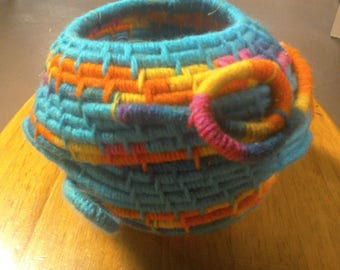 Turquoise/multicolor Coiled Basket