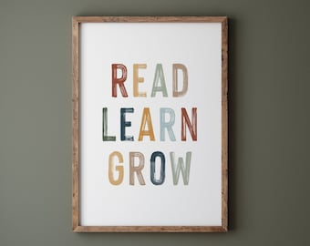 DIGITAL DOWNLOAD • Read Learn Grow • Reading Nook Kids • Educational Posters For Kids • Homeschool Printable Decor • Classroom Decor Quotes