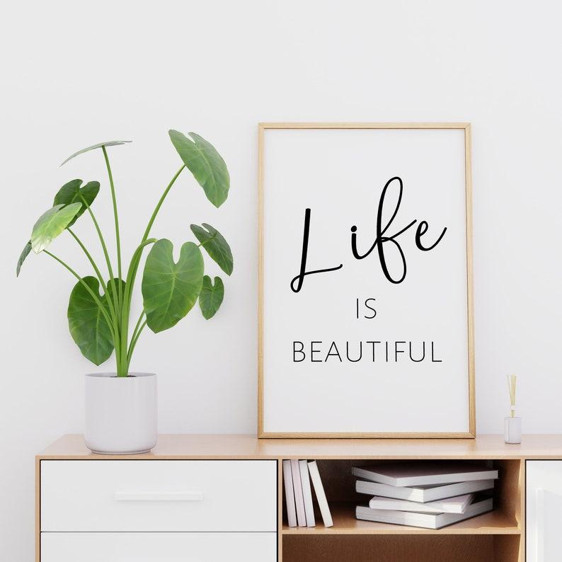 Life Is Beautiful Printable Wall Art Quote Prints Printable Etsy