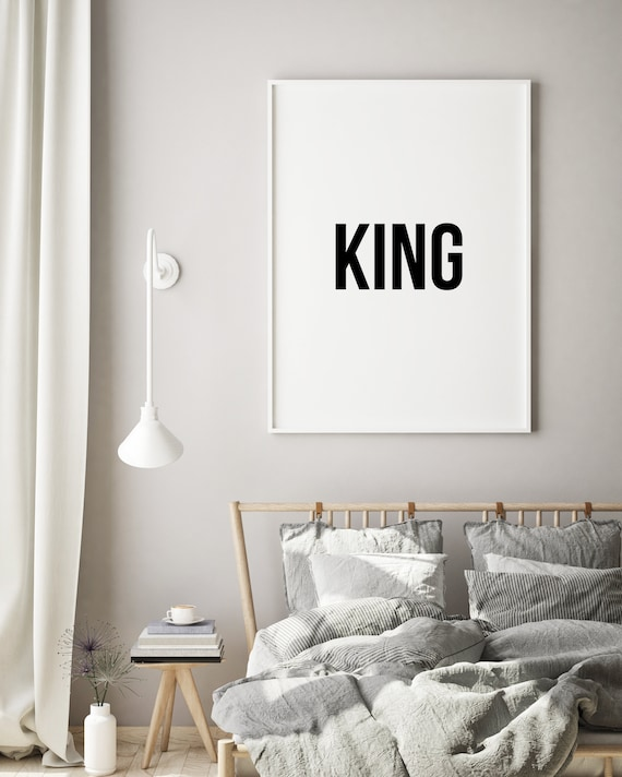 King Wall Art, King and Queen, Above Bed Decor, Bedroom Wall Decor, Bedroom  Wall Art, Bedroom Decor, Couples, Black and White Prints, Quotes