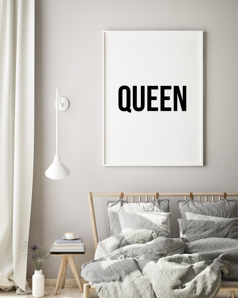 Queen wall art bedroom decor bedroom wall decor printable wall art black and white prints bedroom wall art signs poster quote prints