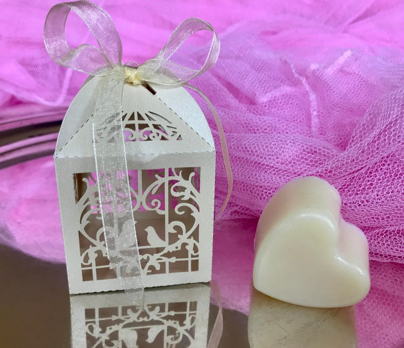 Wedding shower favors SET OF 10  Thank you guest gift  Bridal shower  Baby shower  Heart soap  Personalized tag