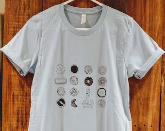 Donut T Shirt, foodie gift, screen print t shirt, handprinted