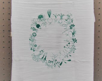 Vegetable Tea Towel, screen printed flour sack towel, hand printed