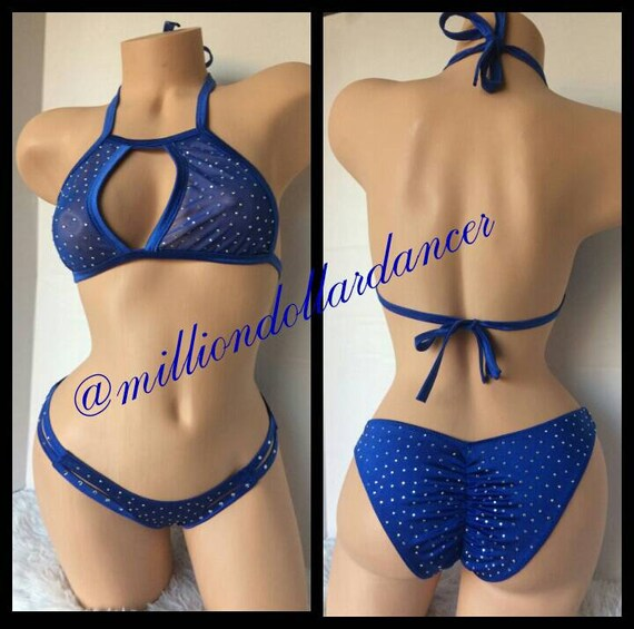 f9132c575bb Exotic Dancewear  Stripper Outfit  Mesh  Rhinestone Stripper