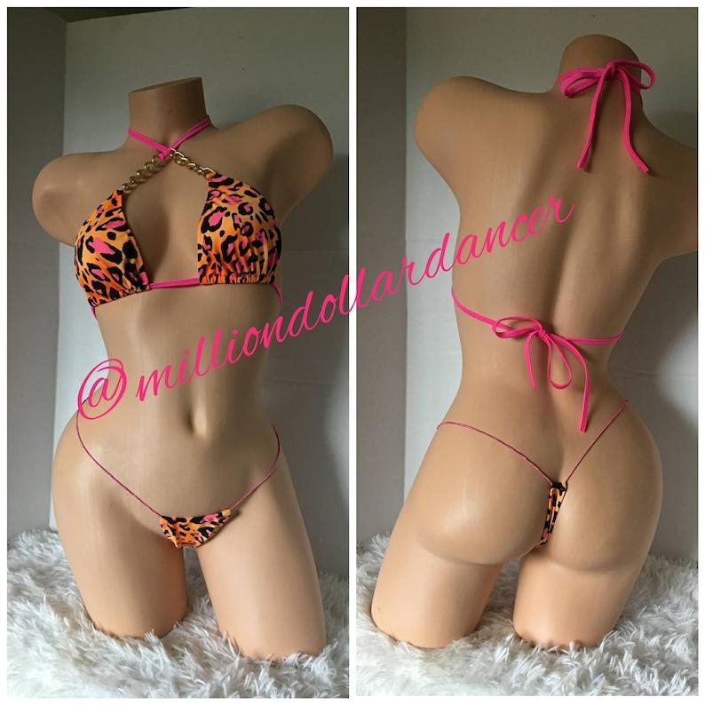 51972563987 Exotic Dancewear Leopard Print Two Piece Set Stripper