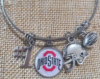 Ohio State Buckeyes Charm Bangle Bracelet, Buckeyes Bracelet, Stackable