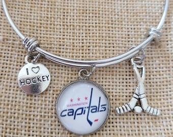 """Washington Capitals Bangle Charm Bracelet, NHL Washington Capitals """"Mascot Logo"""" Bangle Bracelet, Washington Capitals Hockey Bangle Bracelet"""
