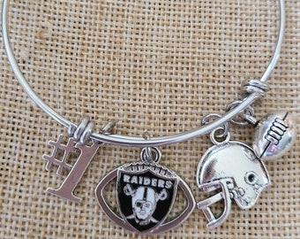 """Las Vegas Raiders Charm Bangle Bracelet, Las Vegas Raiders Football """"Mascot Logo"""" Charm Bangle Bracelet, Stackable"""