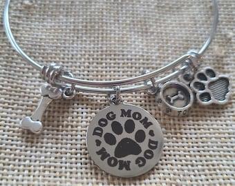 Dog Mom Charm Bangle Bracelet, Dog  Charm Bracelet, Pet Jewelry, Stackable