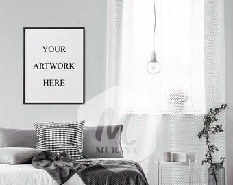 8x10 Feminine Bedroom Frames Mockup, Double Frame Mockup, Silver Frames,  Scandinavian Interior Design, With Mount