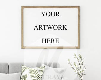 Wood Frame Mockup, Wood Landscape Frame, Styled Stock Photograpy, Scandinavian Style Interior, PSD Mockup, Digital Item, Natural Lighting
