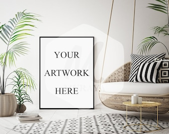 Download Free A3, Livingroom Frame mockup, Thin black frame, Styled Stock Photograpy, Scandinavian Style Interior, PSD Mockup, Hipster, Modern Design PSD Template