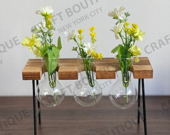 Wooden Plant Stand with Glass Vase   Glass Planter   Hydroponic Plant Stand   Propagation Station   Propagation Vase   Glass Vase   Planter