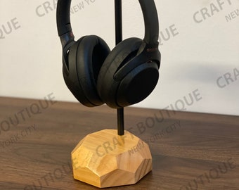 Natural Wood Colored Head phone Stand - Steel and Wood Headphone Holder, Headset Game Gifts, Head Set Stand