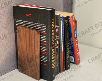 Book Ends (1 Pair) , Wooden Book Ends For Desks or Shelves, Available in Natural Wood or Darker Walnut Color (6.7 in x 4 in)