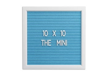 10 X 10 Blue Felt Letter Board With Easel - Premium Felt Letterboard- 450 White Letters, Numbers, Emoji and Symbols. Free Pouch and Stand.