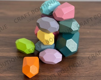 Wooden Balancing Stacking Stones, 12 PC Wood Rocks, Pastel Colored Stacking Building Blocks, Natural Colorful Montessori Puzzle Toy
