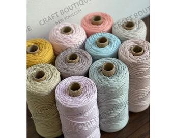 100 Meter / 3 MM Macrame Yarn , 328 feet 100% Cotton Macramé Cord Meters Cotton Cord, 270 Grams, Single Ply or Single Twist