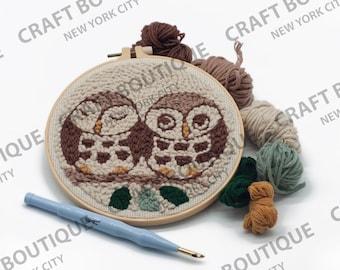 Owl Punch Needle Starter Kit   Punch Needle Kit   Oxford Punch Needle Kit With Yarn   Starter Kit   DIY Beginners
