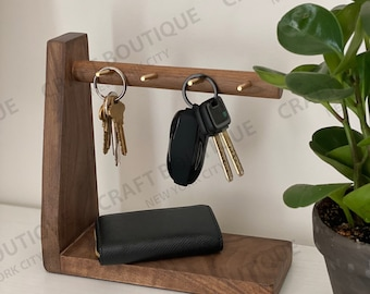 Key & Wallet Holder, Modern Nordic Wooden Key and Wallet Holder, Key, Wallet and Coin Stand - Perfect Gift For Anyone