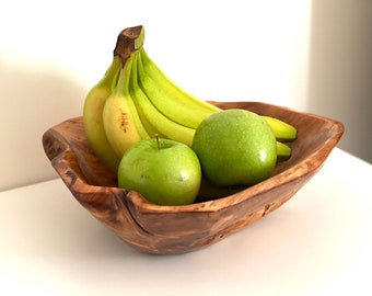 Large Handmade Wooden Bowl For Fruits, Hand Carved Fir Root Wood Bowl,  Wooden Fruit Plate , Rustic Modern Wooden Plate