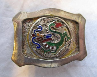 Antique Sterling Silver and Enameled Fantasy Belt Buckle with Fire Dragon