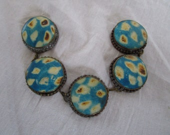 Antique Art Pottery Round Disc Bracelet