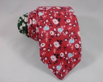 Men's Floral Red Necktie