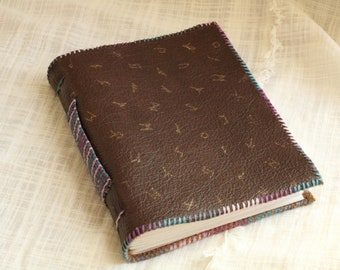 Handbound Rune Cover Leather Journal   Book of Shadows