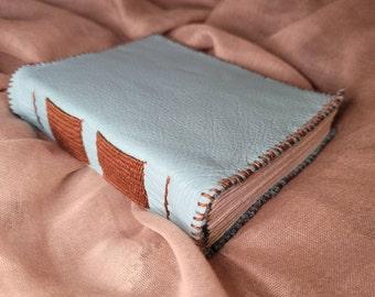 Light Blue Handbound Leather Journal