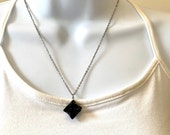 Obsidian (Natural) MERKABA STAR Pendant Necklace, 2.5mm 16 or 18inch Stainless Steel Chain