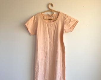 Vintage Plus Size Long Peach Dress with Fringe, Cotton, Size Large