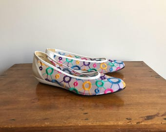 Colorful 80's White Mesh Ballet Shoes, Size 8