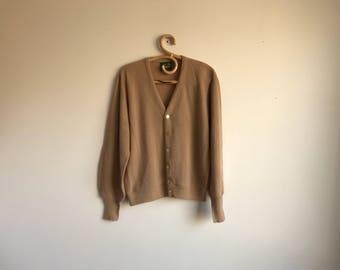 Vintage Brown Cardigan Sweater, Large