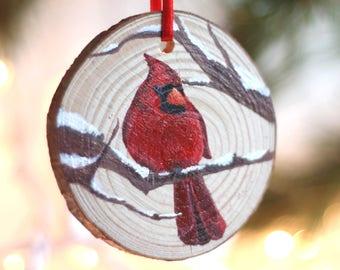 Cardinal Christmas Ornament, hand painted, wood slice