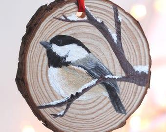 Chickadee Christmas Ornament, Wood Slice, Hand Painted