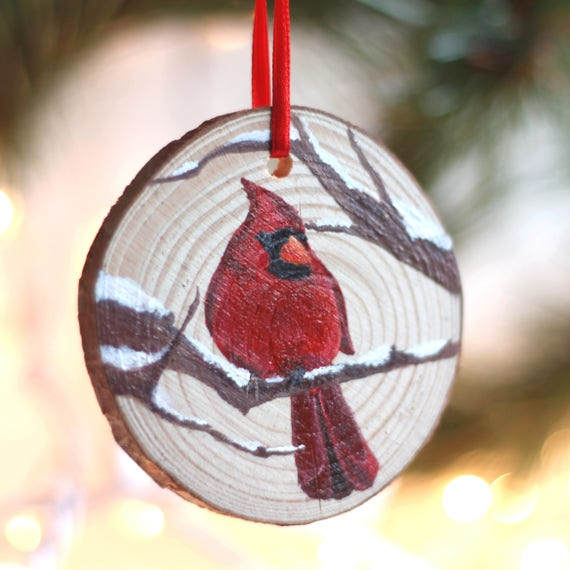 Cardinal Christmas Ornament, hand painted, wood slice - Cardinal Christmas Ornament Hand Painted Wood Slice Etsy